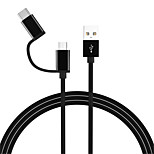 cheap -Type-C / Micro USB USB Cable Adapter All-In-1 Cable For Samsung / Huawei / LG 100cm Zinc Alloy / TPE