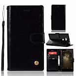 Недорогие -Кейс для Назначение Sony Xperia L2 Кошелек / Бумажник для карт / со стендом Чехол Однотонный Твердый Кожа PU для Xperia L2