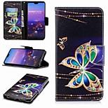 Недорогие -Кейс для Назначение Huawei P20 lite P20 Pro Бумажник для карт Кошелек со стендом Флип С узором Чехол Бабочка Твердый Кожа PU для Huawei
