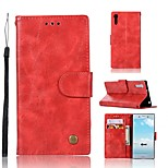 cheap -Case For Sony Xperia XZ Wallet / Card Holder / with Stand Full Body Cases Solid Colored Hard PU Leather for Sony Xperia XZ