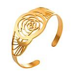 Недорогие -Жен. 1 Браслет разомкнутое кольцо - Мода Цветы Золотой Серебряный Браслеты Назначение Повседневные