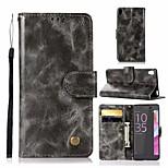 Недорогие -Кейс для Назначение Sony Xperia L1 Кошелек / Бумажник для карт / со стендом Чехол Однотонный Твердый Кожа PU для Sony Xperia L1