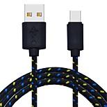 abordables -Type-C Adaptateur de câble USB Tressé Câble Pour Macbook / Samsung / Huawei 200cm Nylon