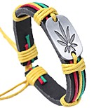 cheap -Men's Leather Bracelet - Leather Leaf Basic, Fashion Bracelet Coffee / Rainbow For Ceremony / Street