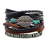 Недорогие -Многослойность / стек Кожаные браслеты - В форме листа Мода, Многослойный Браслеты Черный Назначение Официальные / Для улицы