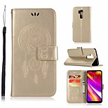 Недорогие -Кейс для Назначение LG G7 Кошелек / Бумажник для карт / со стендом Чехол Сова Твердый Кожа PU для LG G7