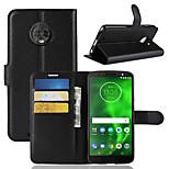 Недорогие -Кейс для Назначение Motorola Moto G6 Play / MOTO G6 Бумажник для карт / Кошелек / Флип Чехол Однотонный Твердый Кожа PU для Moto Z2 play