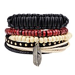 cheap -Layered / Stack Leather Bracelet - Wings Fashion, Multi Layer Bracelet Black For Ceremony / Street