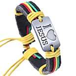 cheap -Men's Leather Bracelet - Leather Heart Ethnic, Fashion Bracelet Coffee / Rainbow For Daily / Ceremony
