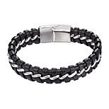cheap -Men's 1 Leather Bracelet - Fashion Geometric Gold Silver Bracelet For Daily