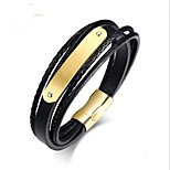 cheap -Men's 1 Leather Bracelet - Fashion Circle Gold Black Bracelet For Gift Daily