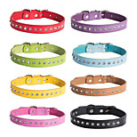 cheap -Dogs / Cats Collar Portable / Adjustable / Retractable / Foldable Solid Colored / Rhinestone PU Leather / Polyurethane Leather Black /