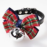 cheap -Dogs / Cats / Pets Collar Adjustable / Retractable / Bowknot / With Bell Solid Colored / Polka Dot / Stripe PU Leather Green / Blue /