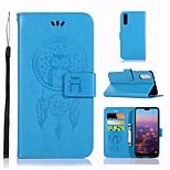 Недорогие -Кейс для Назначение Huawei P20 Кошелек / Бумажник для карт / со стендом Чехол Сова Твердый Кожа PU для Huawei P20