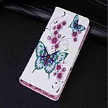 Недорогие -Кейс для Назначение Huawei P20 lite / P20 Бумажник для карт / Кошелек / со стендом Чехол Бабочка / Цветы Твердый Кожа PU для Huawei P20