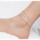 cheap -Layered / Geometric Anklet - Vintage, Multi Layer Silver For Daily / Women's