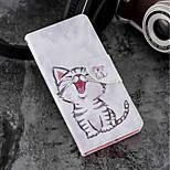 Недорогие -Кейс для Назначение Sony Xperia XZ2 / Xperia XZ2 Compact Бумажник для карт / Кошелек / со стендом Чехол Кот Твердый Кожа PU для Xperia