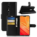 Недорогие -Кейс для Назначение OnePlus OnePlus 6 / OnePlus 5T Бумажник для карт / Кошелек / Флип Чехол Однотонный Твердый Кожа PU для OnePlus 6 /
