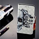 Недорогие -Кейс для Назначение Sony Xperia XZ2 / Xperia XZ2 Compact Бумажник для карт / Кошелек / со стендом Чехол Черепа Твердый Кожа PU для Xperia