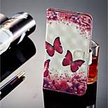 baratos -Capinha Para Sony Xperia XZ2 / Xperia XZ2 Compact Porta-Cartão / Carteira / Com Suporte Capa Proteção Completa Borboleta Rígida PU Leather