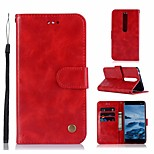 cheap -Case For Nokia Nokia 6 2018 Wallet / Card Holder / with Stand Full Body Cases Solid Colored Hard PU Leather for Nokia 6 2018