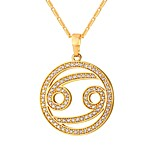 cheap -Men's Women's Pendant Necklace  -  Fashion Circle Gold Silver 55cm Necklace For Daily