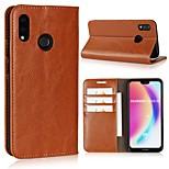 Недорогие -Кейс для Назначение Huawei P20 Pro / P20 lite Кошелек / Бумажник для карт / Флип Чехол Однотонный Твердый Настоящая кожа для Huawei P20 / Huawei P20 Pro / Huawei P20 lite