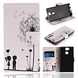 Недорогие -Кейс для Назначение Sony Xperia XA2 Кошелек / Бумажник для карт / со стендом Чехол одуванчик Твердый Кожа PU для Xperia XA2