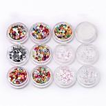 preiswerte -24 pcs Nail Art Kits und Sets / Nagel Kunst Schmuck / Nail Art Blending Glas Akzent dekorativen / Gemischte Farbe Nagel-Kunst-Werkzeug /