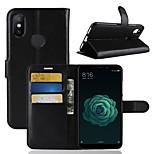 Недорогие -Кейс для Назначение Xiaomi Mi 6X Кошелек / Бумажник для карт / Флип Чехол Однотонный Твердый Кожа PU для Xiaomi Mi 6X(Mi A2)