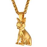 Недорогие -Муж. Длиные Ожерелья с подвесками - нержавеющий Собаки Мода Золотой, Черный, Серебряный 55 cm Ожерелье 1шт Назначение Подарок, Повседневные