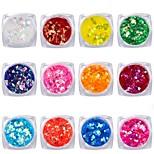 Недорогие -12 pcs Украшения для ногтей Блестящие / Пайетки Формы для ногтей обожаемый / Цветной На каждый день