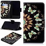 Недорогие -Кейс для Назначение Huawei P9 lite mini / P smart Кошелек / Бумажник для карт / со стендом Чехол Бабочка Твердый Кожа PU для Huawei P20 / Huawei P20 Pro / Huawei P20 lite