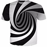 abordables -Homme T-shirt 3D Imprimé Manches Courtes Quotidien Hauts Coton Noir