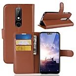 Недорогие -Кейс для Назначение Nokia Nokia 5.1 / Nokia X6 Кошелек / Бумажник для карт / Флип Чехол Однотонный Твердый Кожа PU для Nokia 8 / 8 Sirocco / Nokia 7
