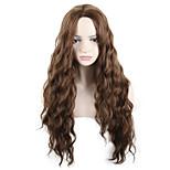 abordables -Perruque Synthétique Ondulation profonde Partie médiane Perruque Longue Auburn Cheveux Synthétiques 26 pouce Femme Soirée Classique Synthétique Marron