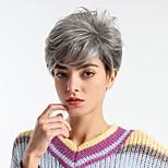 abordables -Perruque Synthétique Droite naturelle Coupe Lutin Perruque Moyen Grise Cheveux Synthétiques 8 pouce Femme Design à la mode Nouvelle arrivee Confortable Gris foncé MAYSU / Ligne de Cheveux Naturelle
