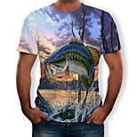abordables -Homme T-shirt Graphique Paysage Animal Grandes Tailles Imprimé Manches Courtes Quotidien Hauts Chic de Rue Exagéré Bleu clair