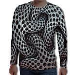 abordables -Homme T-shirt Graphique 3D Print Grandes Tailles Imprimé Manches Longues Quotidien Hauts Chic de Rue Exagéré Gris