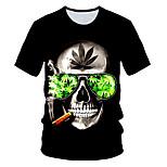 abordables -Homme T-shirt Graphique 3D Crânes Imprimé Manches Courtes Usage quotidien Hauts Chic de Rue Exagéré Noir