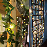 economico -2m 3m 5m 10m ivy leaf garland holiday string lamp aa battery operate copper led fairy string lights for christmas xmas decor lighting home new year warm white led