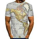 abordables -Homme T-shirt Graphique 3D Lettre Grandes Tailles Plissé Imprimé Manches Courtes Quotidien Hauts Chic de Rue Exagéré Arc-en-ciel