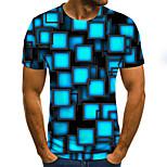 economico -Per uomo maglietta Pop art Monocolore 3D Taglie forti Con stampe Manica corta Quotidiano Top Essenziale Esagerato Blu