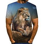 abordables -Homme T-shirt Géométrique 3D Animal Grandes Tailles Plissé Imprimé Manches Courtes Quotidien Hauts Chic de Rue Exagéré Bleu clair