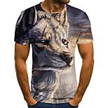 abordables -Homme T-shirt Bloc de Couleur 3D Animal Grandes Tailles Imprimé Manches Courtes Quotidien Hauts basique Exagéré Bleu Marine