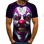 economico -Per uomo maglietta Monocolore 3D Ritratto Taglie forti Con stampe Manica corta Per uscire Top Moda città Esagerato Viola