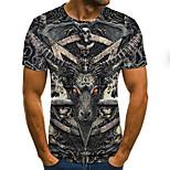 abordables -Homme T-shirt Bloc de Couleur 3D Grandes Tailles Imprimé Manches Courtes Quotidien Hauts basique Exagéré Noir