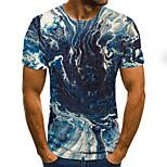 abordables -Homme T-shirt Bloc de Couleur 3D Grandes Tailles Imprimé Manches Courtes Quotidien Hauts basique Exagéré Bleu Marine