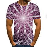 abordables -Homme T-shirt Graphique Bloc de Couleur 3D Grandes Tailles Imprimé Manches Courtes Quotidien Hauts basique Exagéré Violet
