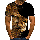 abordables -Homme T-shirt Bande dessinée 3D Animal Grandes Tailles Patchwork Imprimé Manches Courtes Quotidien Hauts basique Chic de Rue Noir